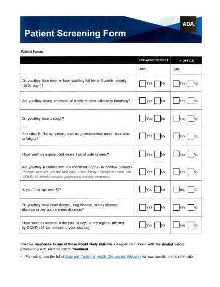 ADA Patient Screening Form